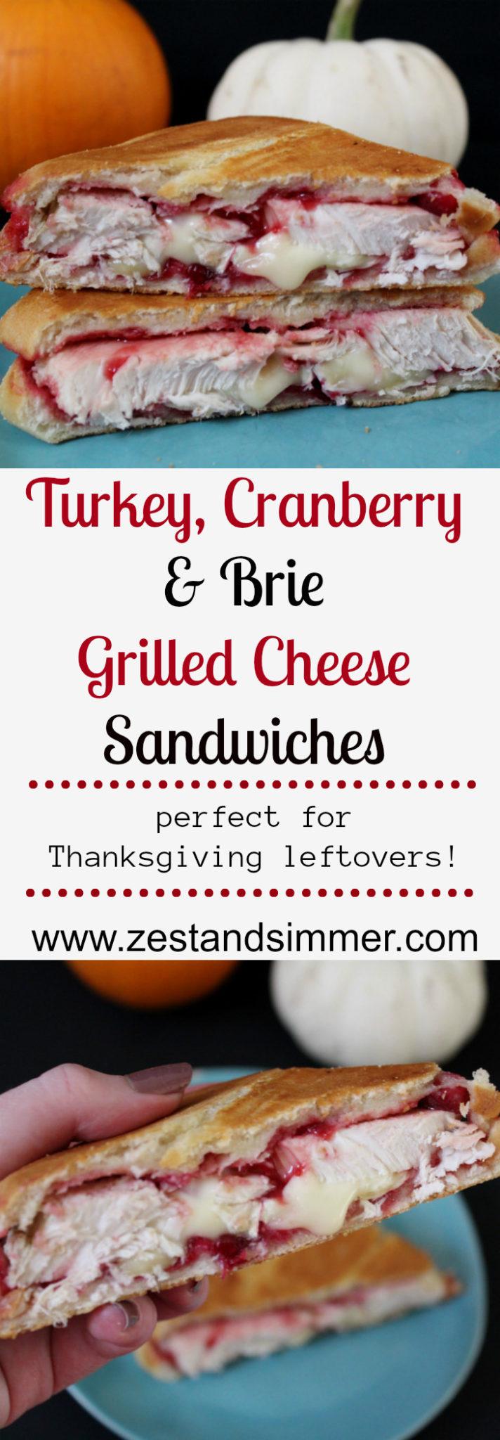 Turkey, Cranberry & Brie Grilled Cheese Sandwich Pinterest Image
