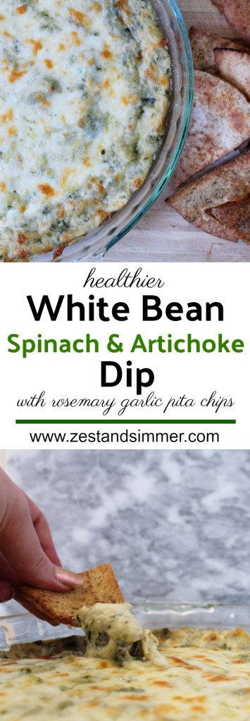Healthier White Bean Spinach and Artichoke Dip with Rosemary Garlic Pita Chips - this is a healthier take on the classic hot spinach and artichoke dip, made with white beans and packed with protein! Though healthier, it still tastes super indulgent and no one notices its made with beans! The homemade rosemary garlic pita chips are perfect for scooping up mouthfuls of this delicious dip.