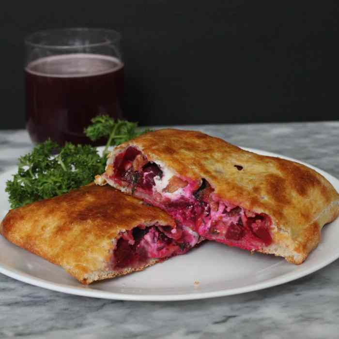 Beet Calzone with Bacon, Goat Cheese and Dil