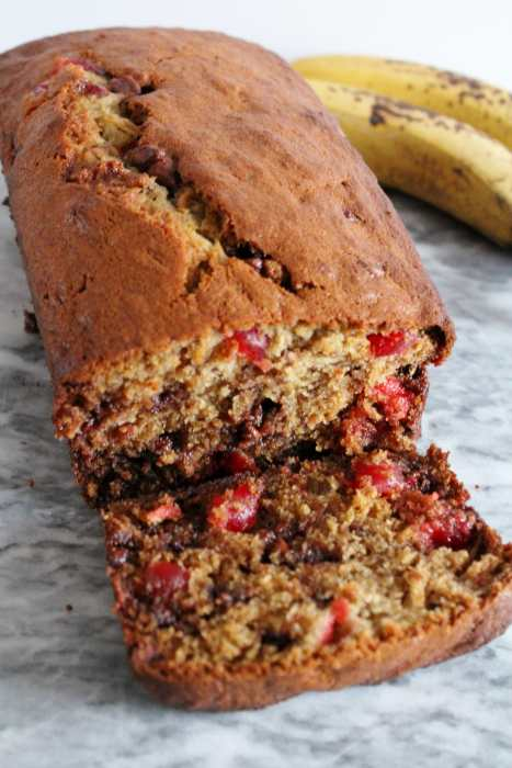 Chocolate Cherry Banana Bread - mix things up with this super moist and tasty banana bread that is loaded with maraschino cherries and chocolate chips! So delicious, you will have trouble stopping at one slice!