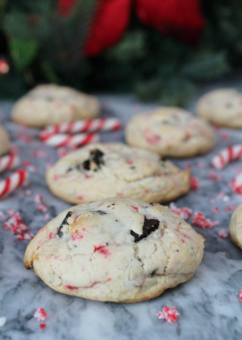Candy Cane Oreo Cookies - The perfect festive treat for the holidays! This Christmas cookie recipe only has 5 ingredients: boxed cake mix, canola oil, eggs, Oreo cookies and candy canes. Christmas baking almost can't get any easier than this!