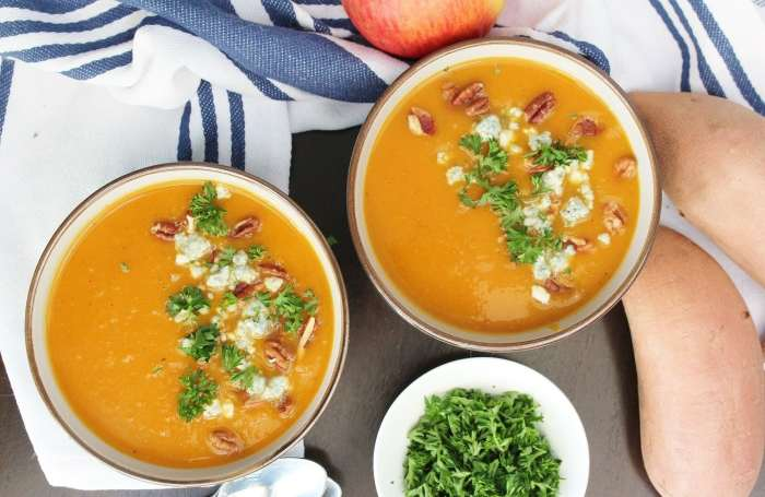 Smokey Sweet Potato & Apple Soup - Creamy, smokey and a little sweet, this simple and nourishing soup is made easily in the slow cooker. It makes for a wonderful fall or winter meal to cozy up with!