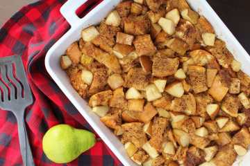 Gingerbread pear french toast casserole