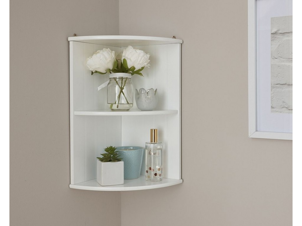 Colonial Bathroom Corner Wall Shelf Unit With White Finish