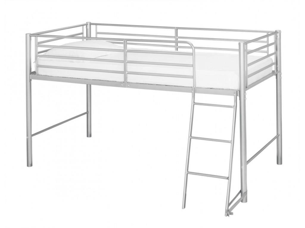 Saturn Mid Sleeper Bunk Bed 3ft Single Silver Metal Frame