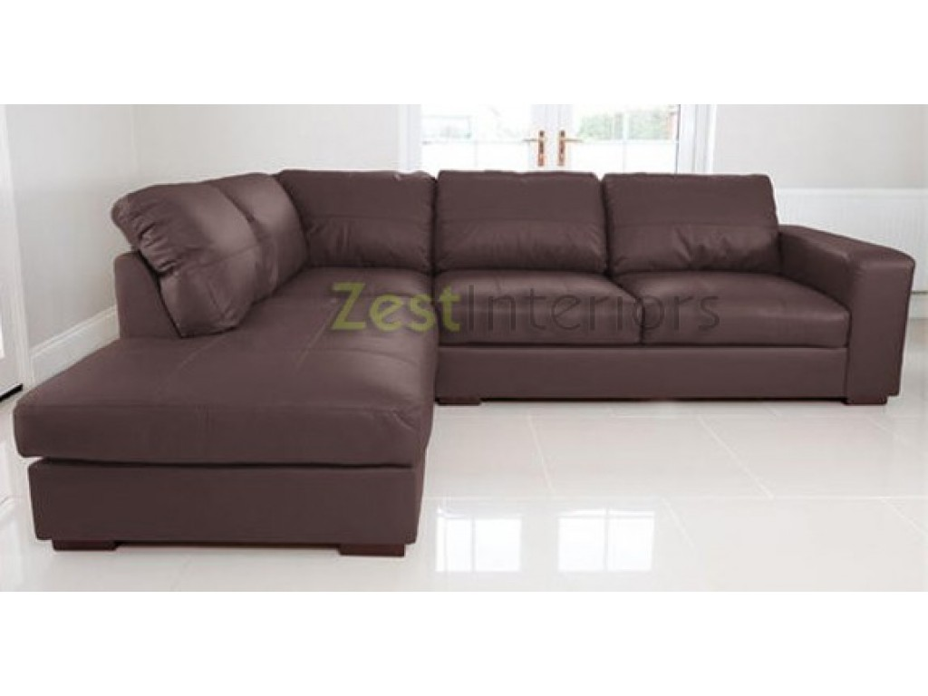 venice left hand corner sofa brown faux leather w chaise lounge