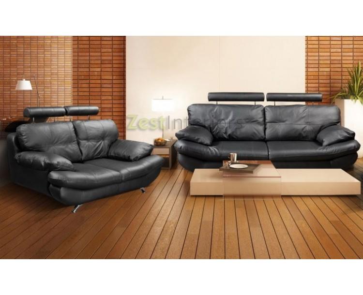 Verona Black 3 2 Faux Leather Sofa Set W Adjule Headrest