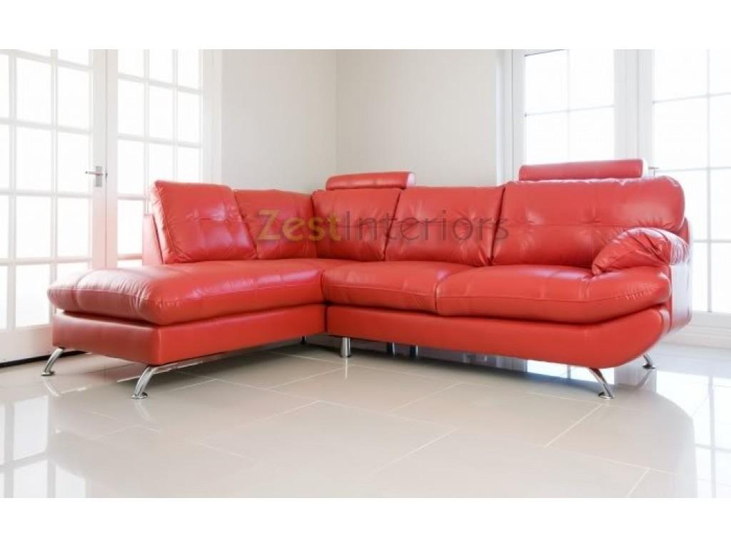 Verona Stylish Red Left Large Corner Faux Leather Sofa