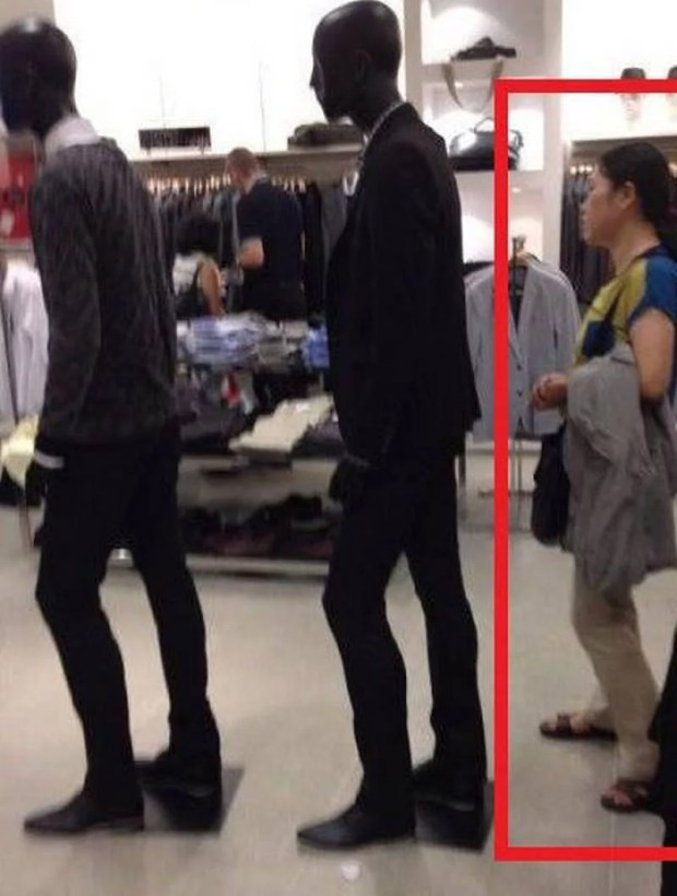 girl waiting in line with dummies