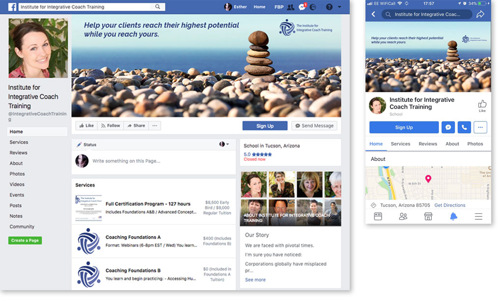IICT Facebook header image on computer and phone