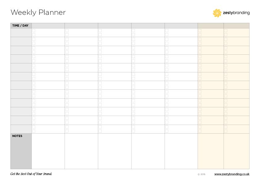 Zesty weekly planner (blank)