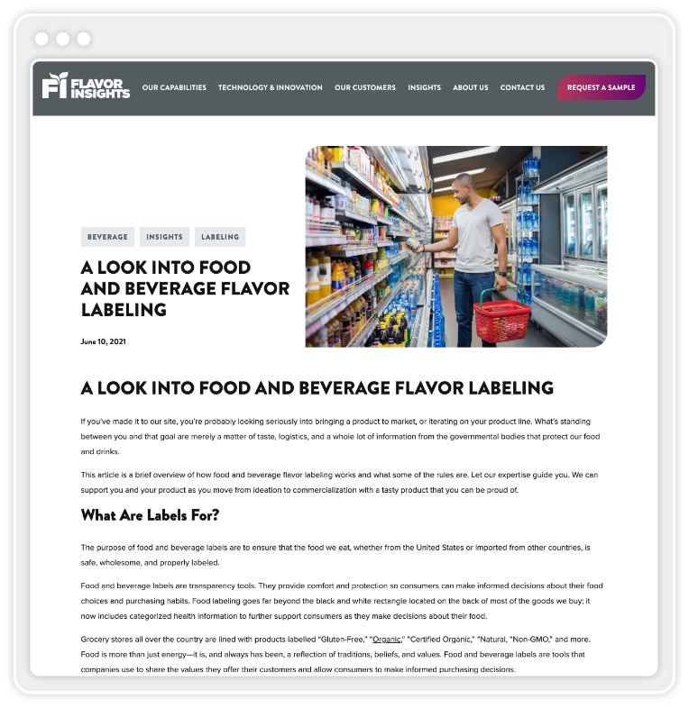 """screenshot of blog post titled """"A Look Into Food And Beverage Flavor Labeling"""""""