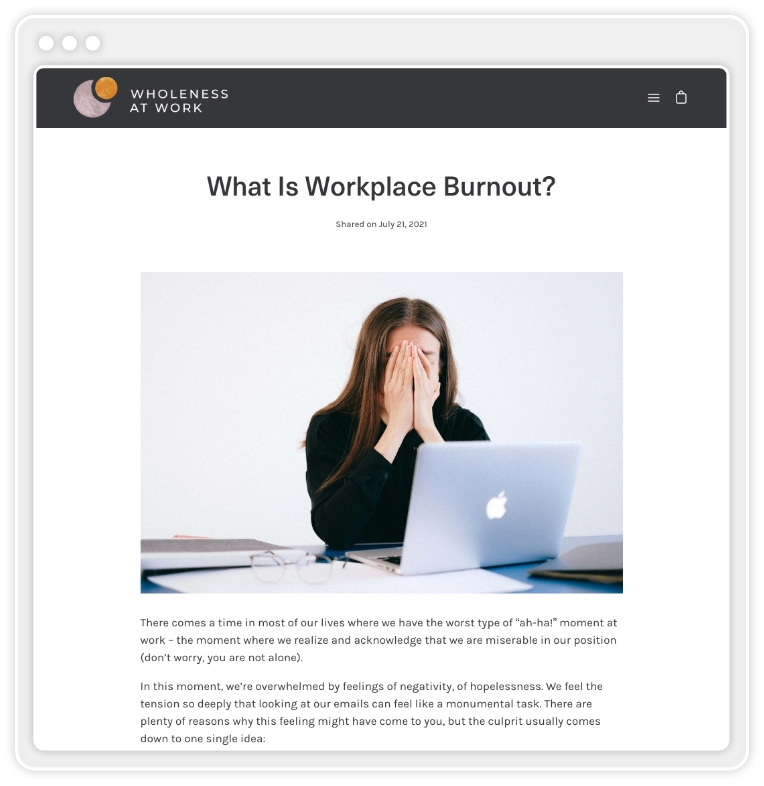 """screenshot of blog post titled """"What is Workplace Burnout?"""""""