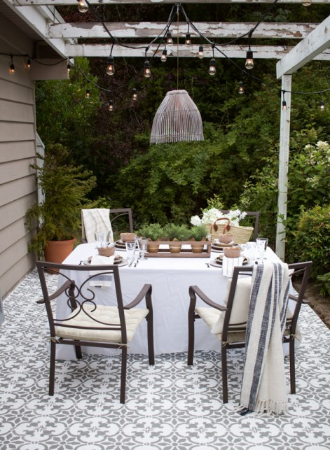 stencils make a big difference to this patio