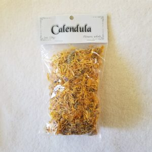 """Calendula known also as Ruddles, Marybud, and Marigold in honor of the Virgin Mary originated in Egypt. Used historically in skin and hair products and later in foods as the """"poor man's saffron"""". In magic for protection, legal matters, psychic and spiritual powers. 1oz cut flower form to be stored in a sealed container in a cool, dry place."""