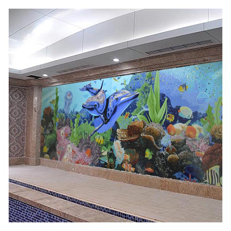 swimming pool glass mosaics tiles wall