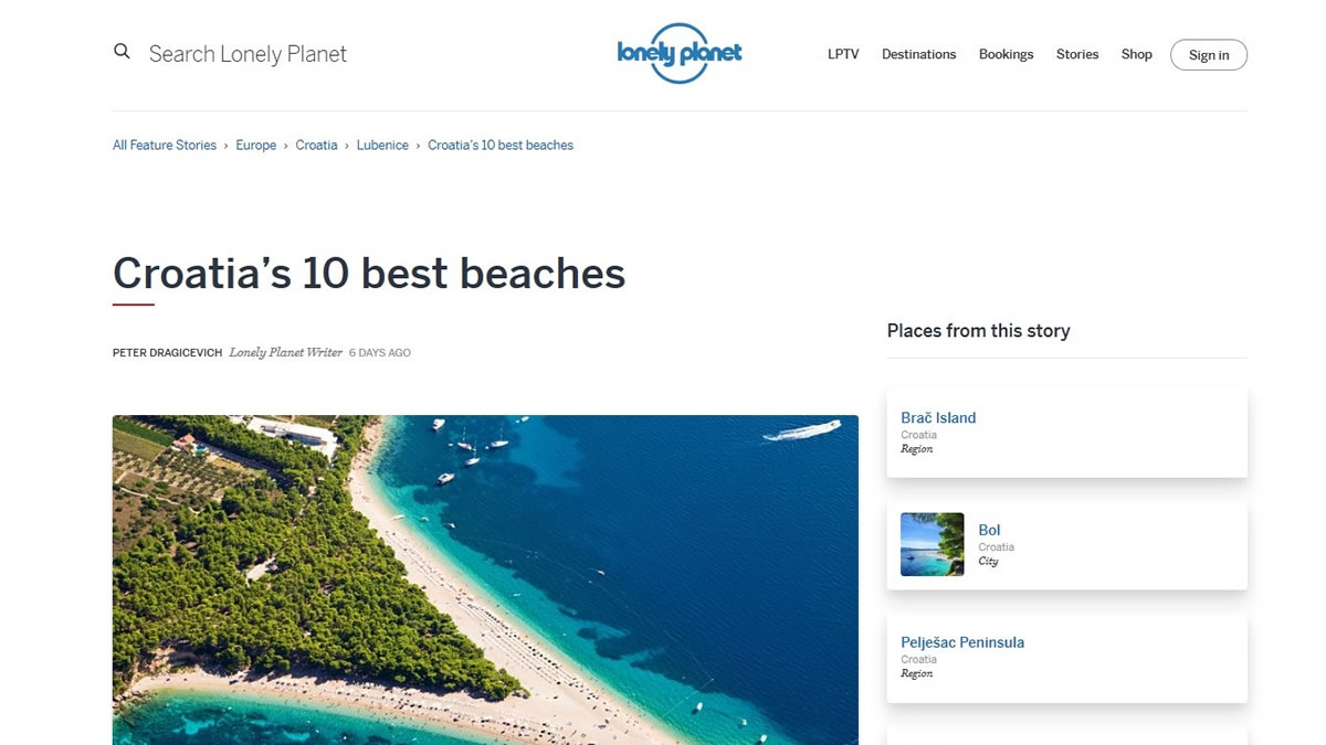 lonely planet - croatia`s 10 best beaches in 2020