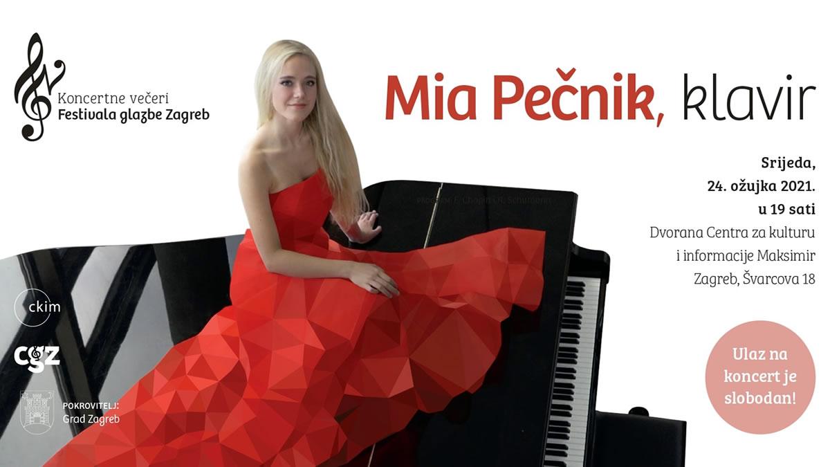 mia pečnik - klavirski koncert - centar za kulturu i informacije maksimir - zagreb, ožujak 2021.