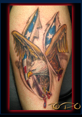 Ripping Eagle Tattoo. Placement: Arm Comments: Ouch