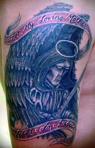 Tattoos. Lettering Tattoos. arcangel memorial