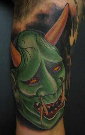 Japanese hannya mask color inner arm tattoo