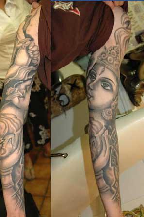 Religious Praying Hands Tattoos. Full Sleeave