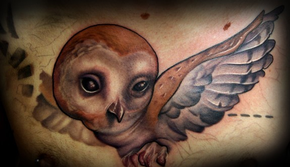 Kelly Doty - Barn Owl tattoo (unfinished) Large Image Leave Comment