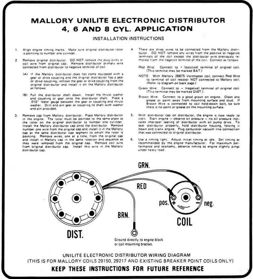 MalloryP1 mallory unilite wiring diagram diagram wiring diagrams for diy mallory unilite distributor wiring diagram at bakdesigns.co