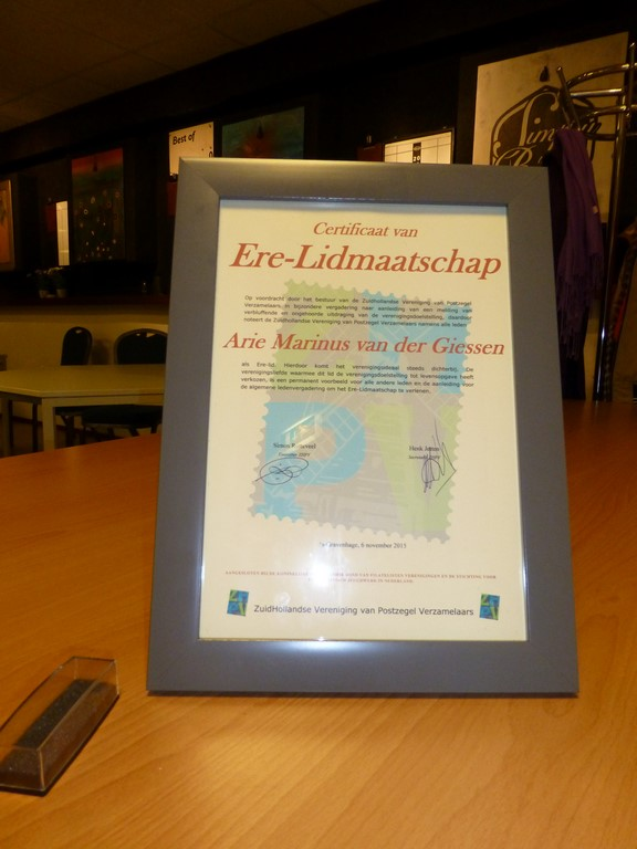 ZHPV Certificaat van Erelidmaatschap A.M. van der Giessen