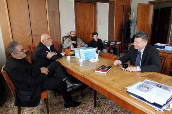 Prof Ilie Badescu, Petre Anghel si Larry Watts la Inst 25.03.2014