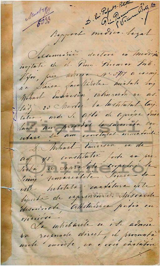 Raport Medico Legal Eminescu - Dosar de Interdictie - Document Const Barbu - Ziaristi Online 1