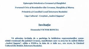 Invitatie Victor Roncea Episcopia Harghitei si Covasnei Forumul Romanilor 2015
