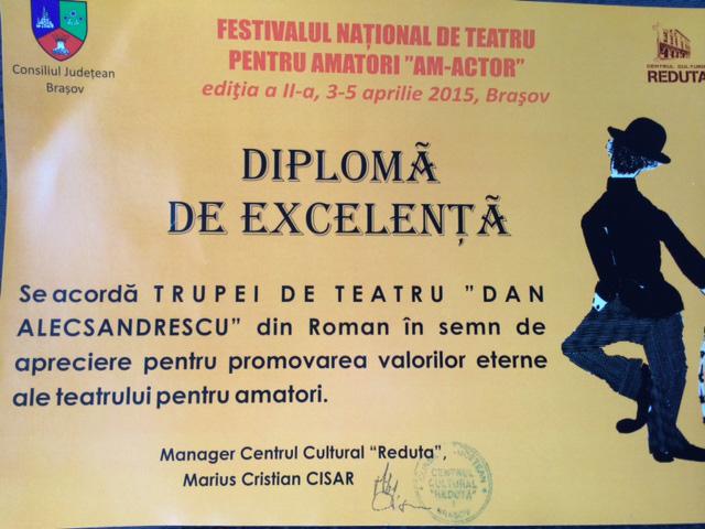 """Trupa """"Dan Alexandrescu"""", premiată la Festivalul de teatru de la Braşov"""