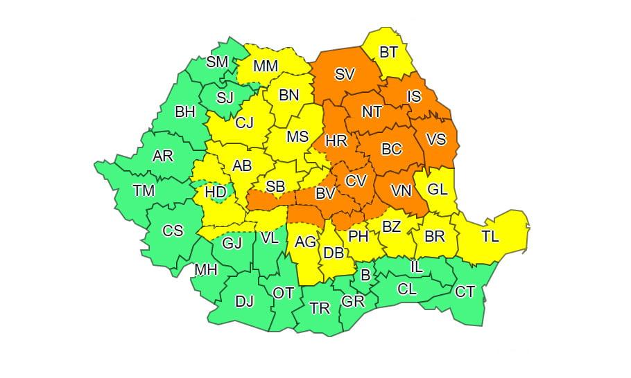Avertizare severă de vreme rea: întreg județul Neamț, sub cod portocaliu de ninsoare, joi și vineri