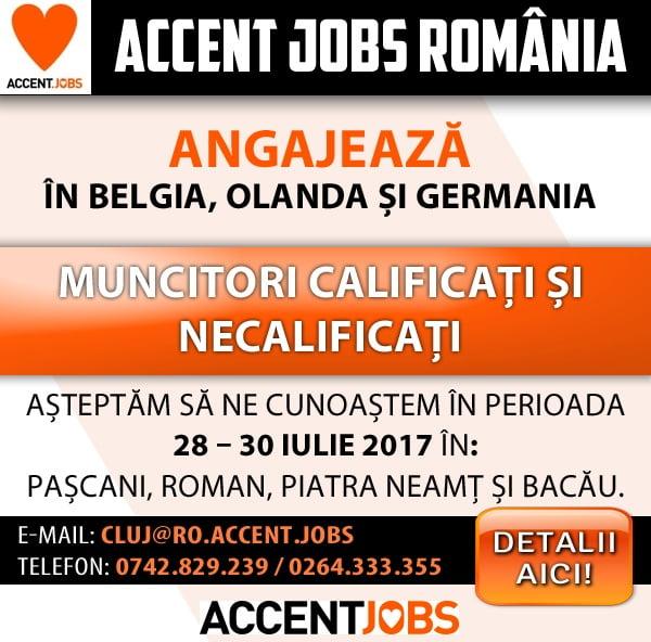 ACCENT JOBS ROMANIA angajează muncitori calificați și necalificați pentru BELGIA, OLANDA și GERMANIA
