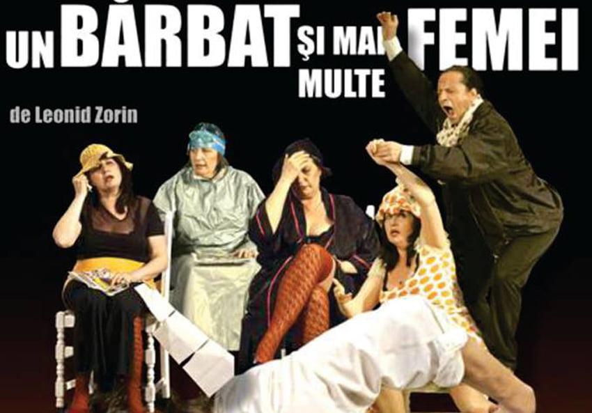 """Magda Catone şi Claudiu Bleonţ, pe scena Casei de Cultură din Roman, în comedia """"Un bărbat și mai multe femei"""""""