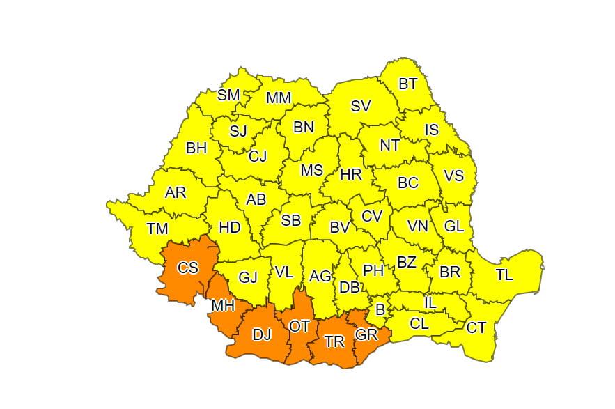 Cod galben și cod portocaliu de vânt puternic și ploi, cu ninsori în zona de munte, până miercuri seara
