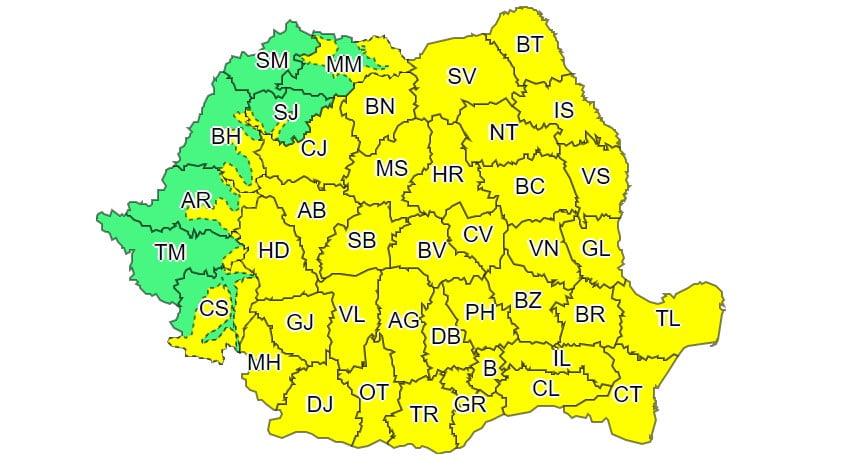 Marți, cod galben de vreme rea în aproape întreaga țară