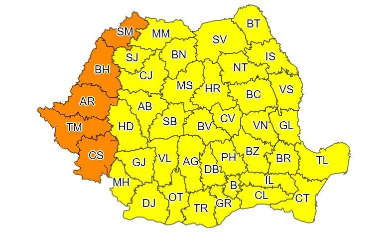 Cod galben de caniculă și disconfort termic în întrega țară, până sâmbătă