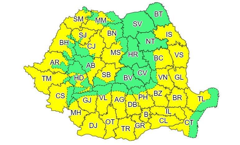 Cod galben de caniculă în aproape întreaga țară, până la finalul săptămânii