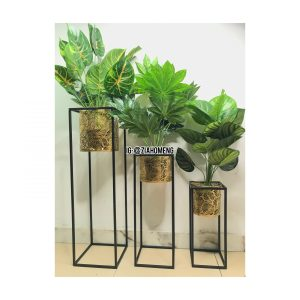 Round Decorative Flower Pot With Square Metal Stand