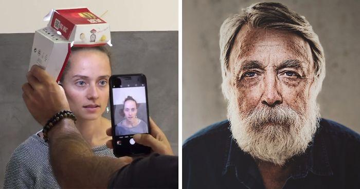 un Iphone una torcia e una scatola di McDonald's per dei ritratti fotografici e i risultati sono sorprendenti