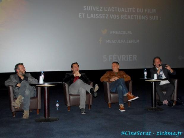 Le réalisateur Fred Cavayé et les acteurs Gilles Lellouche, Medi Sadoun et Vincent Lindon lors d'un débat enflammé à l'UGC Ciné Cité Rosny