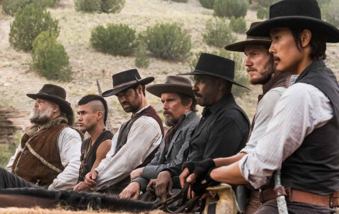 (l to r) Vincent D'Onofrio, Martin Sensmeier, Manuel Garcia-Rulfo, Ethan Hawke, Denzel Washington, Chris Pratt and Byung-hun Lee star in Columbia Pictures' THE MAGNIFICENT SEVEN.
