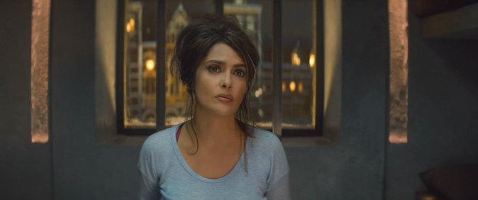SONIA KINCAID (Salma Hayek) in THE HITMAN'S BODYGUARD.