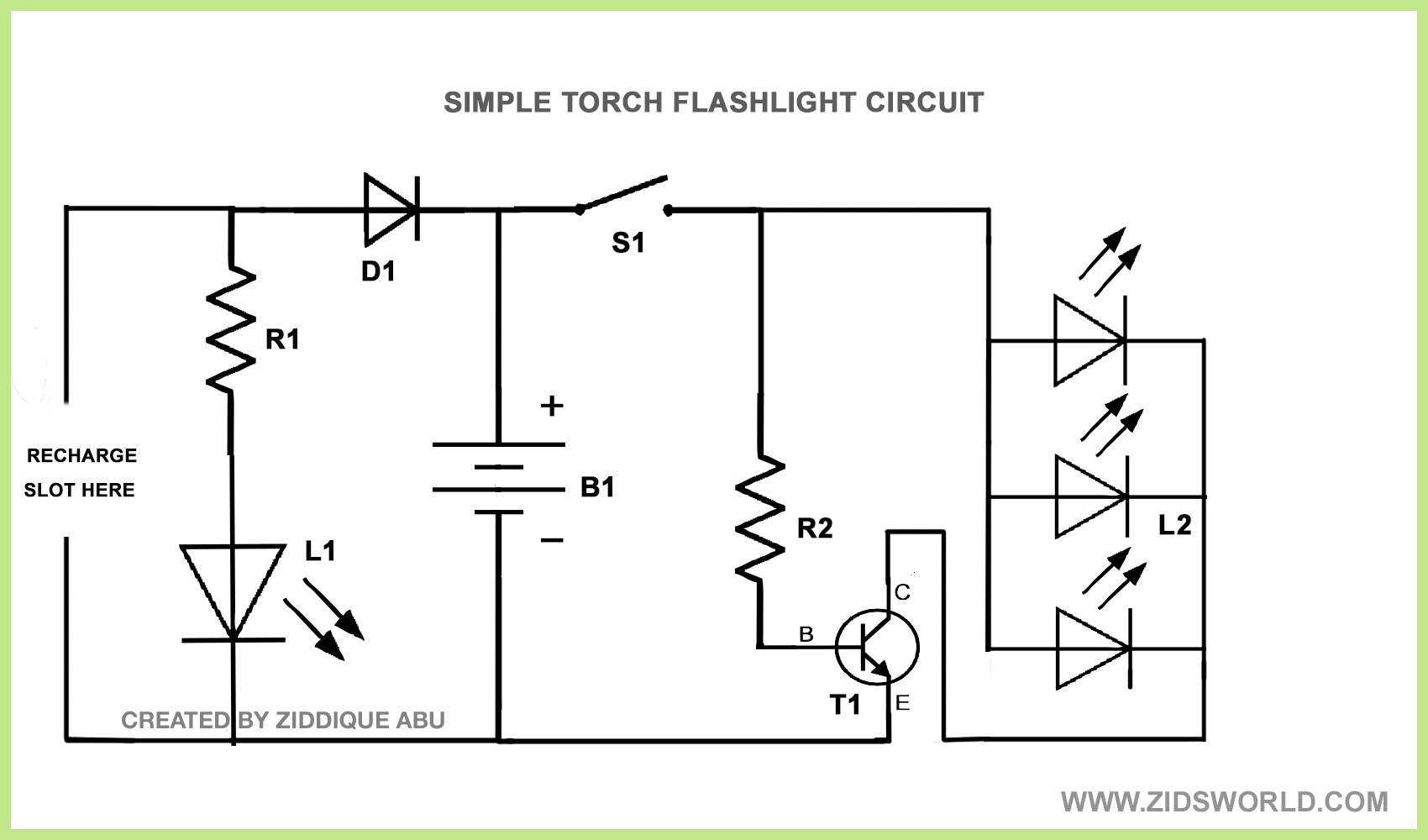 LEDTORCH212 home made bright white led torch flashlight circuit diagram diy