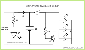 Led flash light torch light circuit diagram