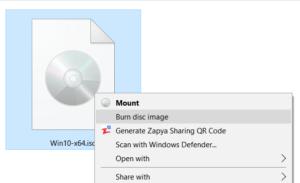 Windows iso rom burn screenshot
