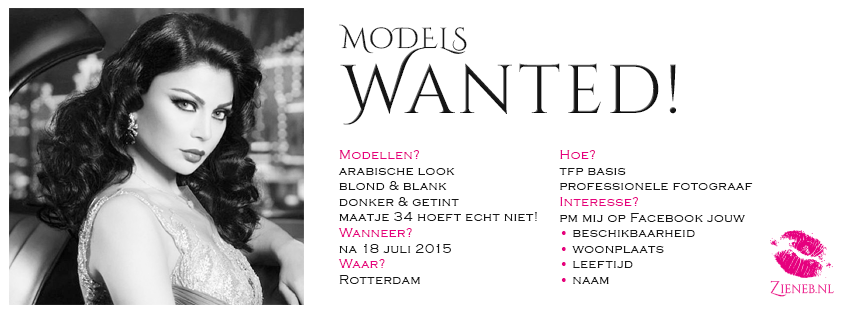 Zieneb.nl is voor haar fotoshoot op zoek naar modellen met arabische look, blond & blank, donker & getint. Zij zorgt voor de make-up en styling...