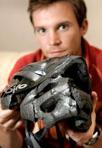 Crushed Bike Helmet Due to Crash